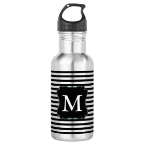 Black and White Stripes Monogram 532 Ml Water Bottle