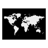 black and white world map poster