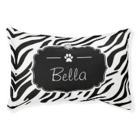Zebra Print Custom Monogram Dog Bed