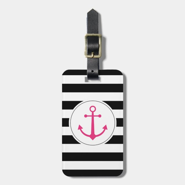 Black & white anchor luggage tag