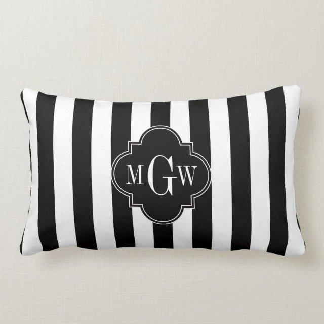Black White Stripe Black Quatrefoil 3 Monogram
