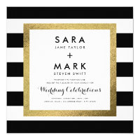 Black & White Stripes with Gold Foil Wedding Card