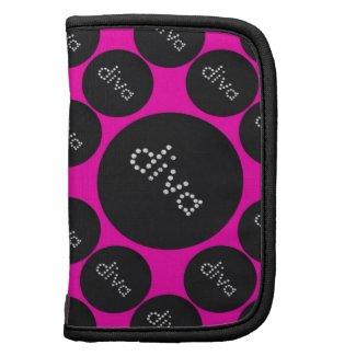 Bling Diva Polka-Dot pink/black Folio Planner