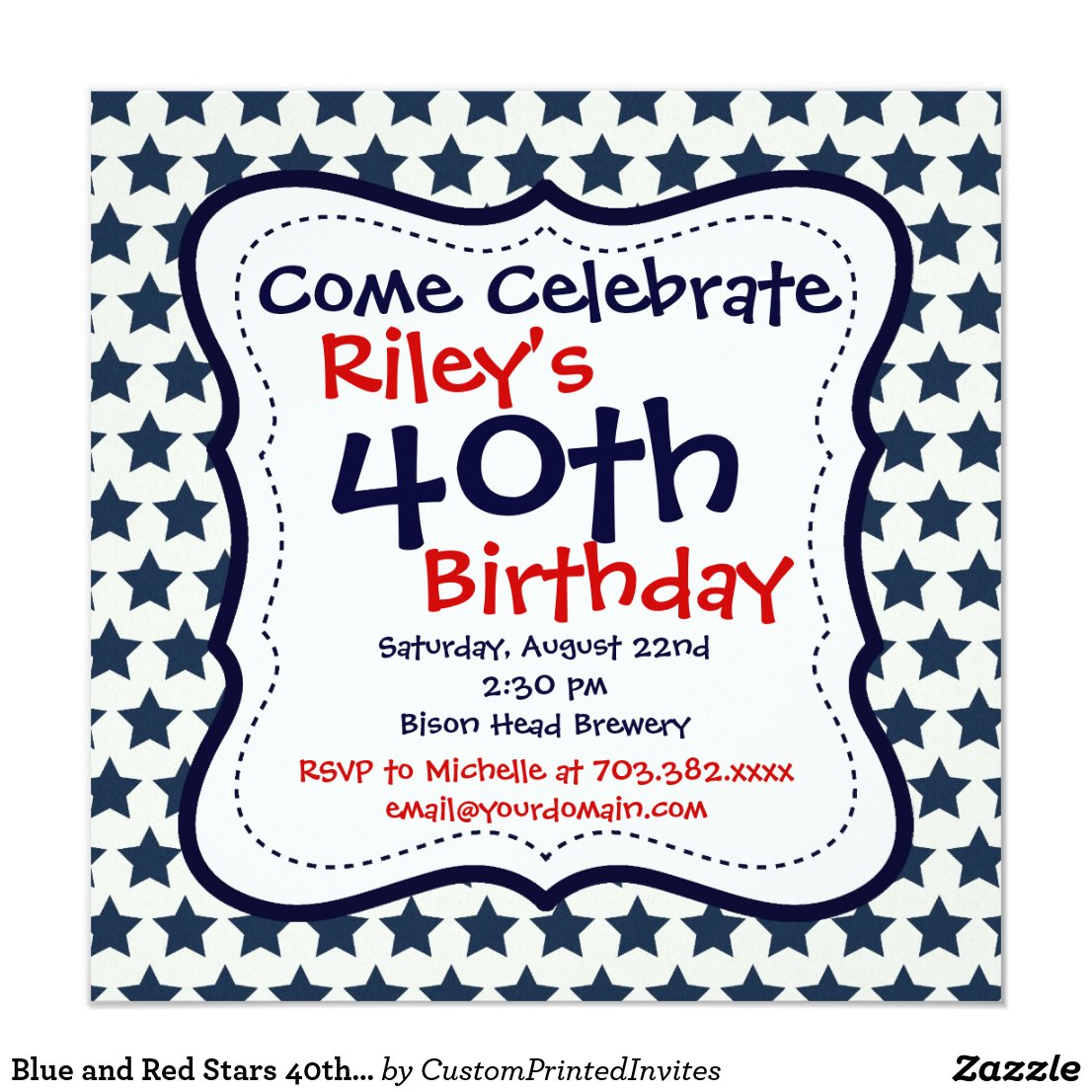 Blue and Red Stars 40th Birthday Party Invitation