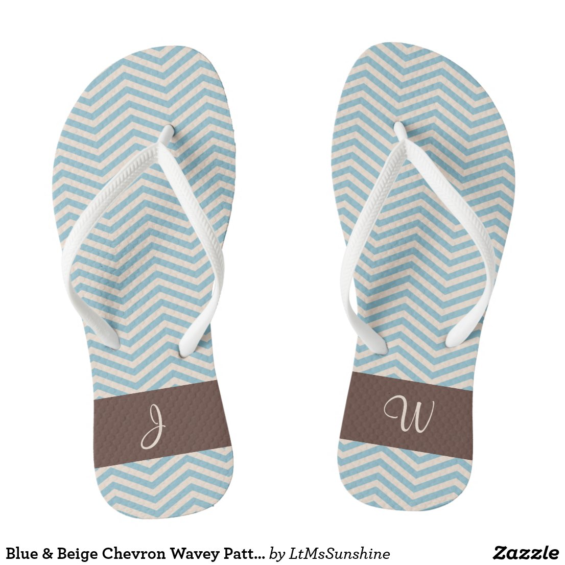 Blue & Beige Chevron Wavey Pattern Brown Monogram