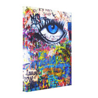 Blue graffiti evil eye canvas print