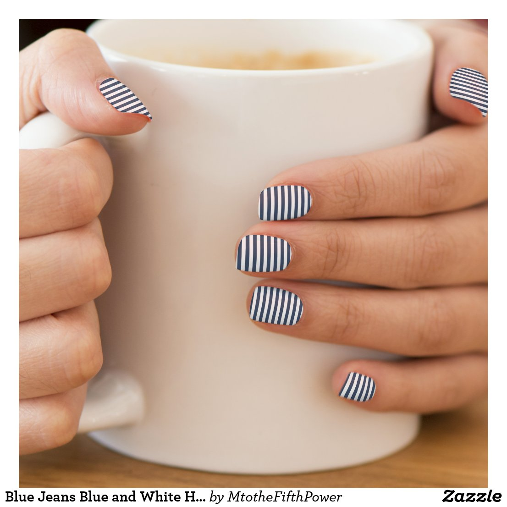 Blue Jeans Blue and White Horizontal Stripes Minx Nail Art