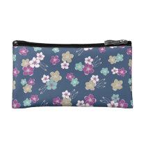 Blue Mint & violet hawaiian flowers exotic pattern Cosmetics Bags