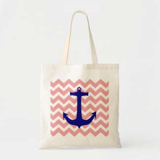 Blue Nautical Anchor Pastel Pink Chevron Tote Bag