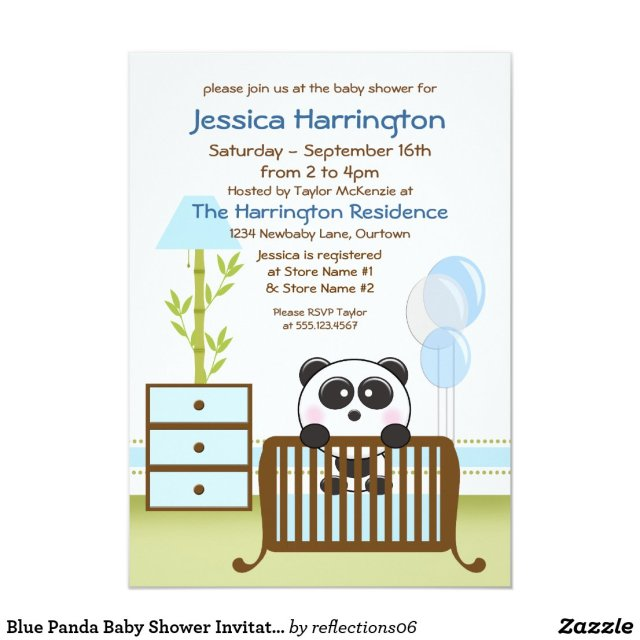 Blue Panda Baby Shower Invitations