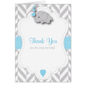 Blue, White Grey Elephant Baby Shower Thank You
