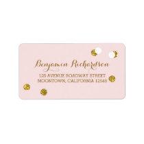 blush pink address labels with glitter confetti
