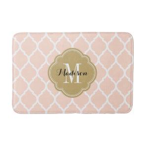 Blush Pink and Gold Moroccan Quatrefoil Monogram Bath Mat