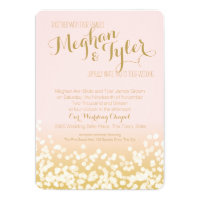 Blush Pink and Gold Sparkle Wedding Card