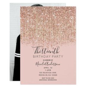 Blush Pink Rose Gold Glitter Birthday Party Photo Invitation
