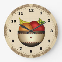 Bowl Of Fruit 2 kitchen clock