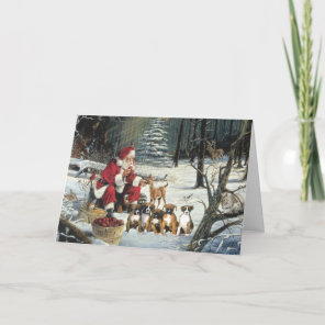 Boxer Puppies Christmas Santa Greeting Card