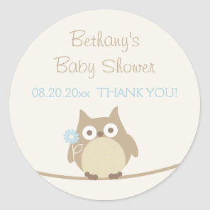 Boy Owl Baby Shower Thank You Classic Round Sticker
