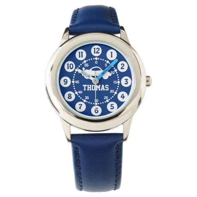 Boys blue white name wrist watch