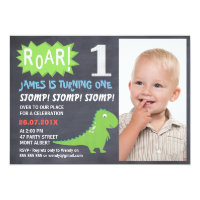 Boys Dinosaur Chalkboard Photo Birthday Invitation