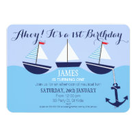 Boy's Nautical 1st Birthday Party Invitation