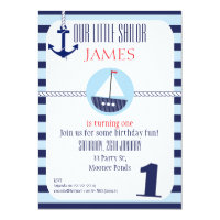 Boys Nautical 1st Birthday party Invitation