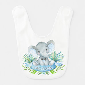 Boys Personalised Elephant Bib