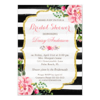 Bridal Shower Watercolor Floral Gold Glitter Decor Card