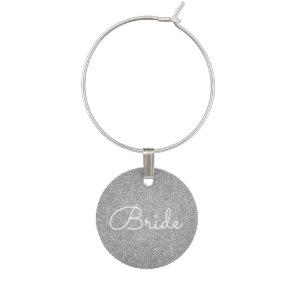 Bride - Wedding Silver Glitter Sparkle Wine Charm