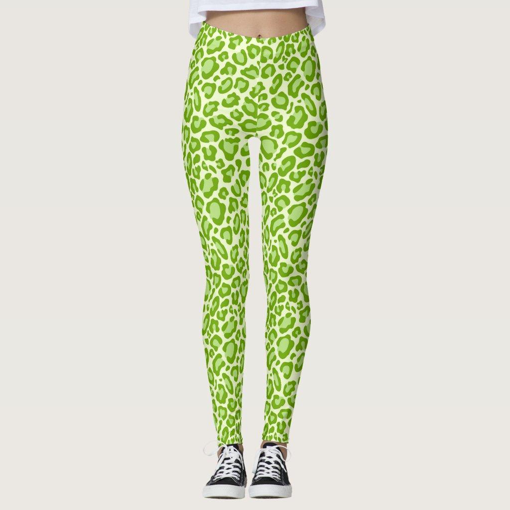 Bright Green Leopard Animal Print Leggings