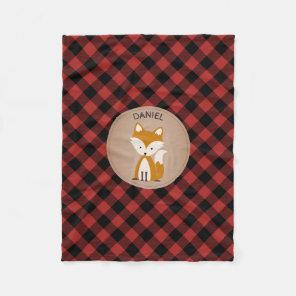 Buffalo Plaid Fox Kids Fleece Blanket