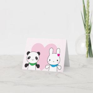 Bunny and Panda Kawaii Valentine Holiday Card