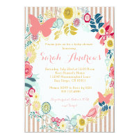 Butterfly Floral Pink Baby Shower Girl invitation