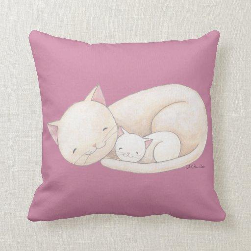 Cat Art Pillow Cat Mum &Baby Cat Throw Pillow