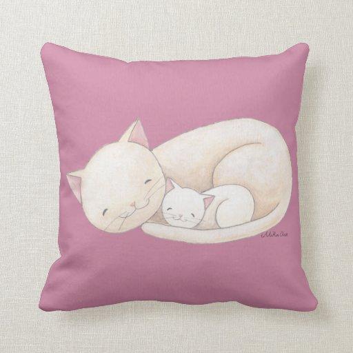 Cat Art Pillow Cat Mum &Baby Cat Throw Pillow