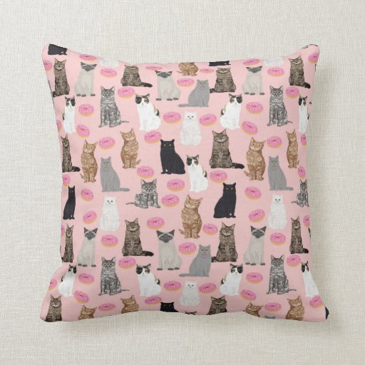 Cats and doughnuts pillow cat lady decor