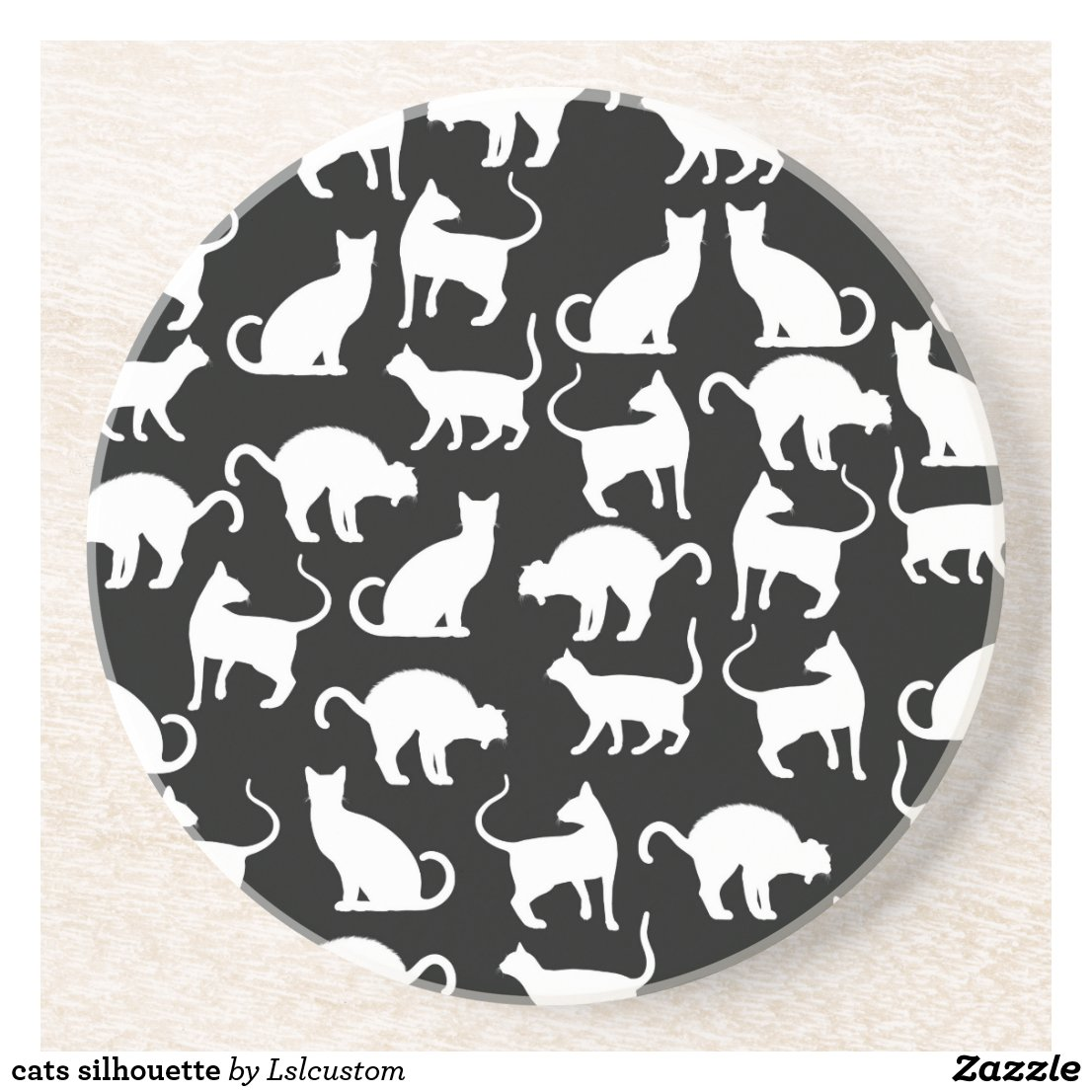 cats silhouette coaster