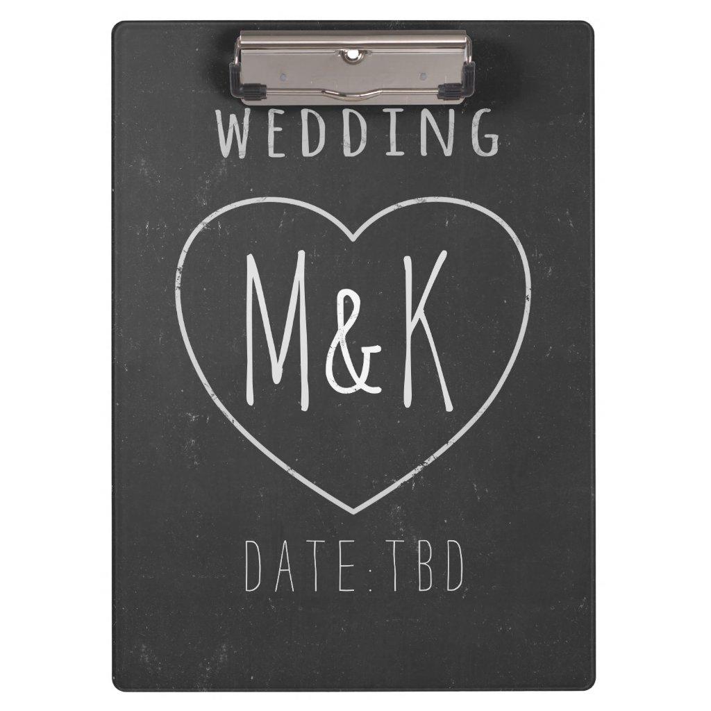 Chalk Heart Monogram Chalkboard Wedding Clipboard