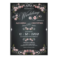 Chalkboard Floral Vintage Bold Wedding  Paper Invitation Card