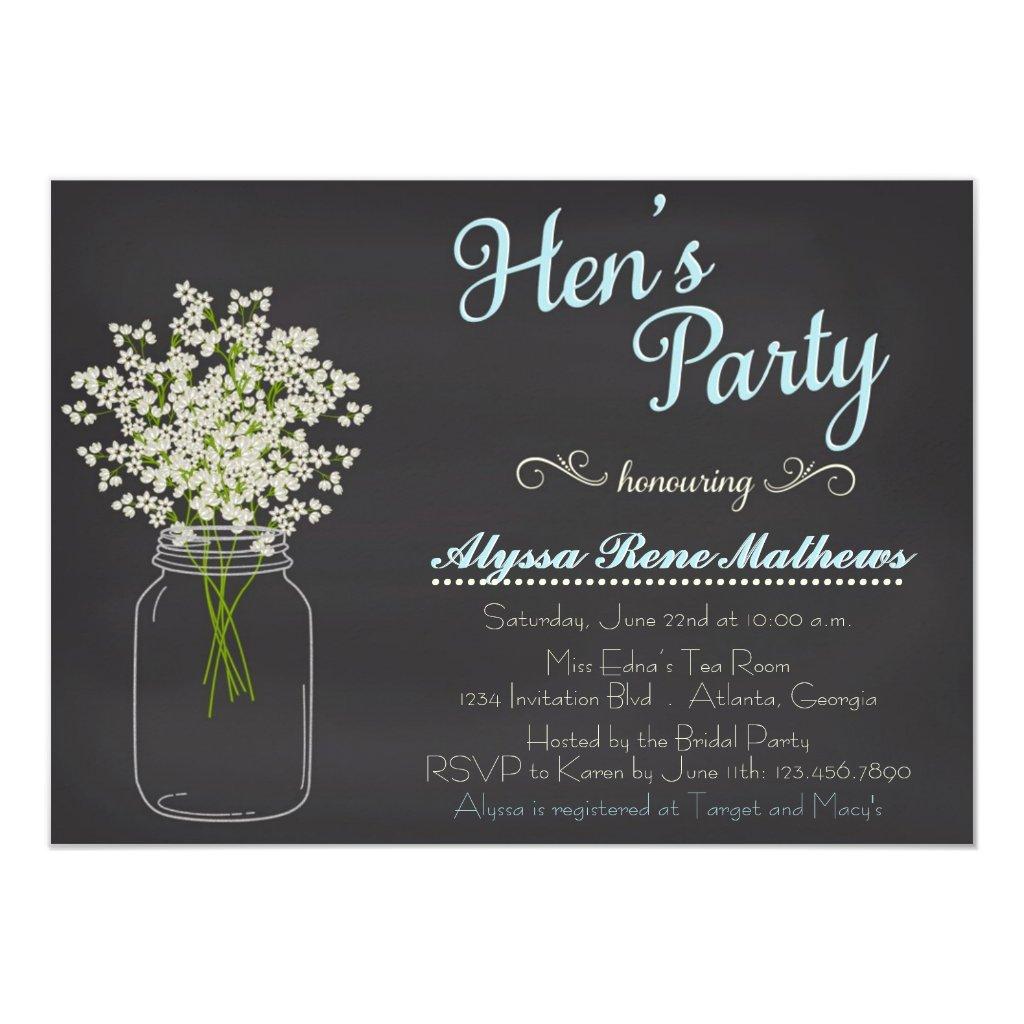 Chalkboard Mason Jar Baby's Breath Hen's Party Card