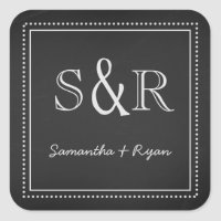Chalkboard Monogram Envelope Seal Square Sticker