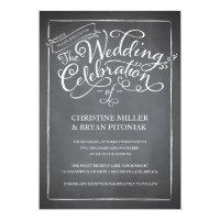 Chalkboard Script White Wedding Invitation