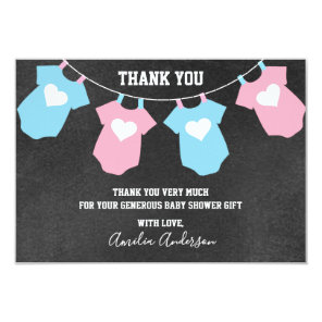 Chalkboard THANK YOU Gender Reveal baby shower Invitation