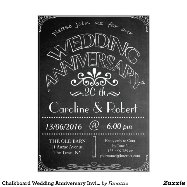 20th Wedding Anniversary Invitation