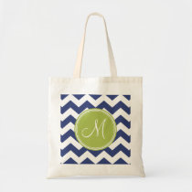 Chevron Pattern with Monogram - Navy Lime Budget Tote Bag