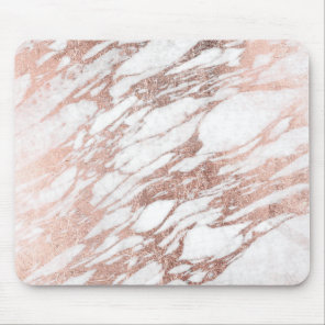 Chic Elegant White and Rose Gold Marble Pattern Mouse Mat