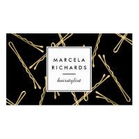 Chic Gold Bobby Pins Hairstylist, Hair Salon II Business Card
