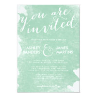 CHIC MINT GREEN WATERCOLOR WEDDING INVITATION