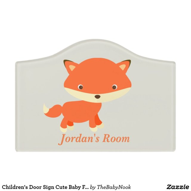 Children's Door Sign Cute Baby Fox