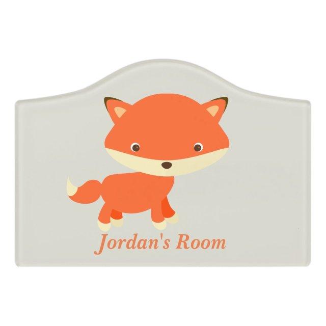 Children's Door Sign Cute Baby Fox